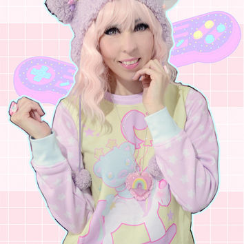 Sweetie Dreams Unicorn Bear Rocking Horse Sweater, Unicorn Sweater, Bear Sweater, Kawaii Sweater, Pastel Sweater