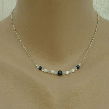 1928 Co. Delicate White Tigers Eye Choker Necklace AB Beads Signed Jewelry