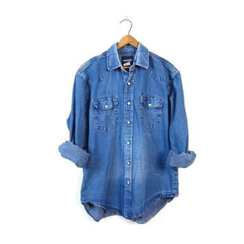 Vintage 80s Wrangler jean shirt Distressed PEARL SNAP button down Western Worn In Denim Boyfriend shirt Shirt 70s Work Shirt Mens Large