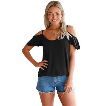 Black Crisscross Back Ruffle Cold Shoulder Top