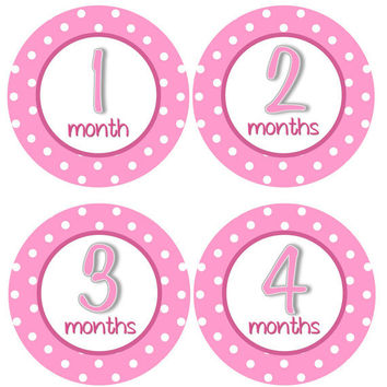 Monthly Onesuit Stickers Girl Baby Month Stickers Hot Pink Girl First Year Monthly Onesuit Sticker Girl Baby Shower Gift Photo Prop -Beth2