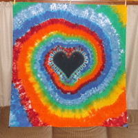 Large Tapestry - Tie Dye Heart Swirl - Any Color Combination Available