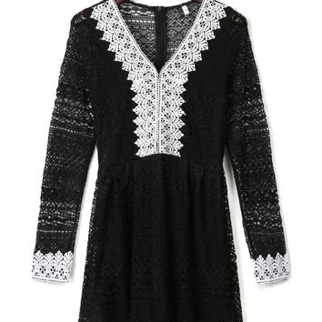 Black V Neck Contrast Lace Trim Long Sleeve Dress