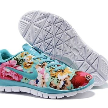 Women's Nike Free TR FIT 3 Flower Print Training Shoes Blue