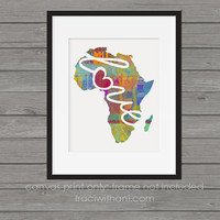Africa Love - Canvas Paper Print:  Grunge, Watercolor, Rustic, Colorful, Digital, Silhouette, Heart, Map, Mission, Christian, Adoption