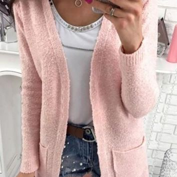 New Women Pink Pockets V-neck No Button Long Sleeve Cardigan Sweater