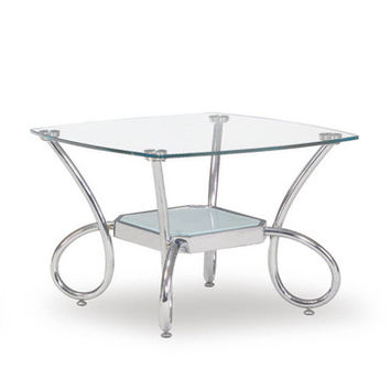 Global Furniture USA 559E Square Clear Glass End Table w/ Chrome Legs