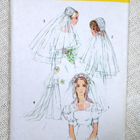 Vintage sewing pattern Simplicity 9826 1970s wedding Veil Headpiece One size Hat Retro Uncut Tulle