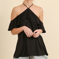 Black Open Shoulder Ruffle Top (final sale)