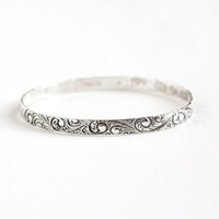 Vintage Sterling Silver Flower Bangle Bracelet - 1950s Danecraft Art Nouveau Style Floral Leaf Vine 8 Inch Stacking Jewelry