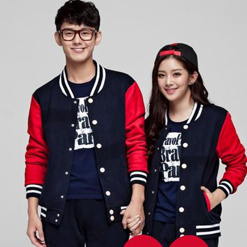 Couple Clothes Jacket Man Woman Long Sleeve Lovers Harajuku Covered Button Coat Outerwear Spring 2016 Valentine's Day Gifts