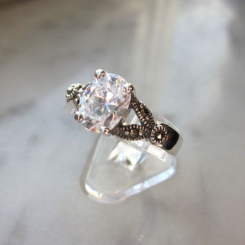 CLEARANCE 925 sterling white sapphire ring April birthstone ring size 8 3/4 solitaire ring bridal engagement rings floral rings marcasite