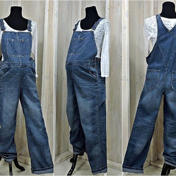 Maternity bib overalls / size M / 90s adjustable denim Overalls / dark wash maternity jean overalls / Loved by Heidi Klum