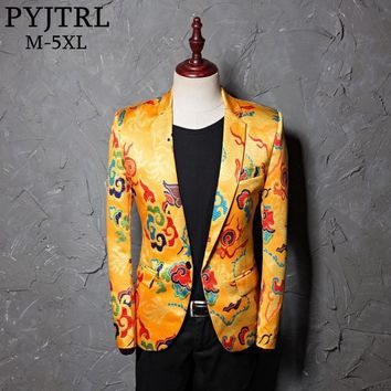 PYJTRL Brand Tide Mens Golden Chinese Style Dragon Pattern Digital Print Suit Jacket Wedding Party Nightclub Stage Blazer