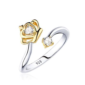Romantic gold silver color crown with rhinestone rings adjustable delicate queen Princess carown ring women fine jewelry
