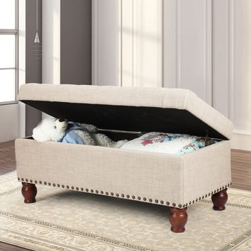 Furnistar Beige PU Fabric Storage Bench