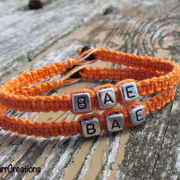 Orange Bae Bracelets, Set of Two for Couples or Best Friends, Before Anyone Else, Macrame Hemp Jewelry