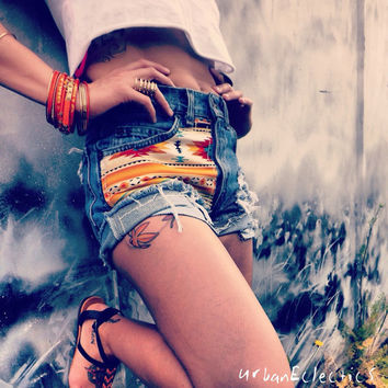 High Waisted Distressed Tan Aztec/ Tribal print Denim Shorts