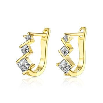 Golden NYC 18K Gold Plated Huggies Earring-Floral Pave
