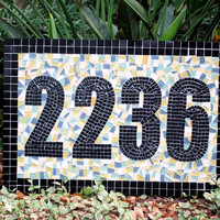 Outdoor House Numbers, Mosaic Address Plaque