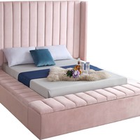 Kiki Pink Velvet Queen Bed