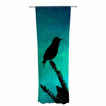 "Sylvia Coomes ""Bird Silhouette"" Teal Black Decorative Sheer Curtain"