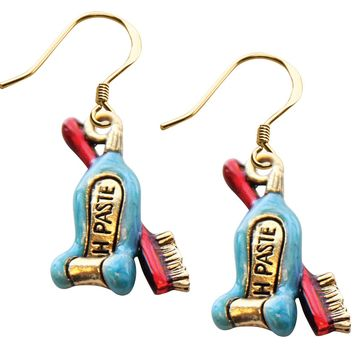 Tooth Paste with Brush Charm Earrings in Gold