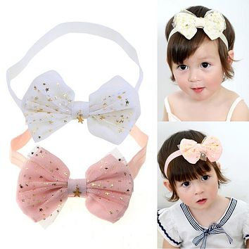 New Star Print Lace Baby Headband Children Girls Bow Head Band Head wear Hair Accessories