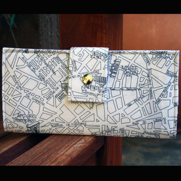handmade wallet april in Paris map black and white