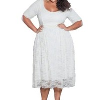 Sealed With A Kiss Designs Plus Size Kara Lace Dress in White