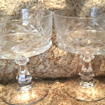 Gorgeous Clear Crystal Champagne Coupes,  Sherbet, Ice Cream, Dessert Stem Glasses
