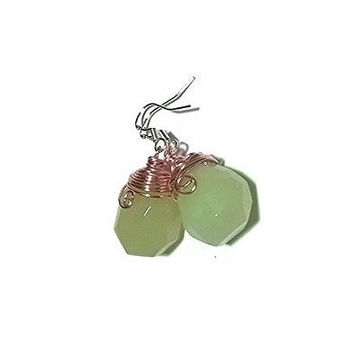 Green Jade Earrings Rose Gold Wire Wrapped Earrings Gemstone Earrings Briolette Earrings Jade Jewelry Jade Drop Earrings Spr...