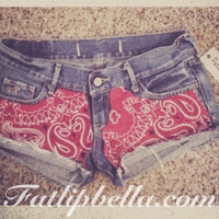 Red bandana country southern girl shorts in low rise only
