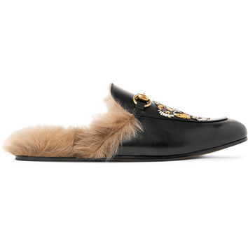 Gucci - Princetown Shearling-Lined Embellished Leather Loafers
