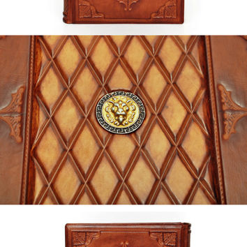 Large leather journal, Chesterfield Lion, with 640 pages (counting side by side)and 7.9x11inch (20.5x28cm) ,