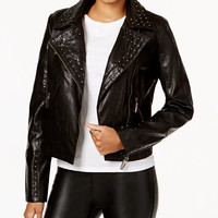 Jou Jou Juniors' Studded Faux-Leather Moto Jacket | macys.com