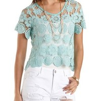 Crocheted Sheer Crop Top by Charlotte Russe