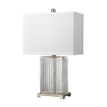 D140 Ribbed Clear Glass Table Lamp in Brushed Steel