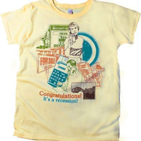 CONGRATULATIONS IT'S A RECESSION Funny 80s Clipart Political Graphic T-shirt