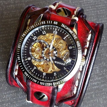 Steampunk Leather Wrist Watch, Men's watch, Leather Cuff, Bracelet Watch, Red and Black Watch, Mechanical