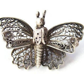 Vintage 800 silver filigree butterfly brooch, likely German or Italian, 1930s #246.