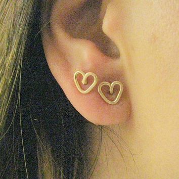 Gold heart earrings, heart earrings, tiny stud earrings, stud earrings ,post earrings, gold filled earrings,small stud earrings