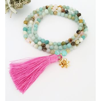 Amazonite Mala Necklace for Love and Courage | Mala Beads | Healing Crystals