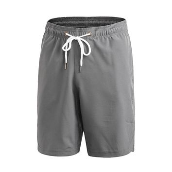 Men's casual Quick-dry Shorts Fitness Drawstring Solid Workout Casual short pants beach wear