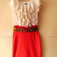 Women Scoop Layers Cap Sleeve Column or sheath Mini Length Red Chiffon and Knitting Skirt S/M/L@II0097r $26.99 only in eFexcity.com.