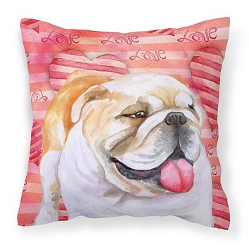 English Bulldog Love Fabric Decorative Pillow BB9726PW1414
