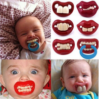 1Pcs Lovely Baby Funny Dummy Prank Pacifier Novelty Teeth Children Child Soother Nipple New [9325393412]