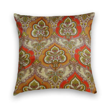 Decorative Pillow Cover--20 x 20--Decorative Throw Pillow-- Green, Red, Gold.