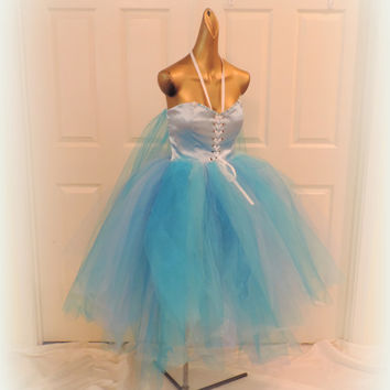 Adult frozen tutu dress costume, blue tutu, Elsa tutu, frozen adult costume, sewn tutu skirt, ice queen tutu dress, light blue tutu