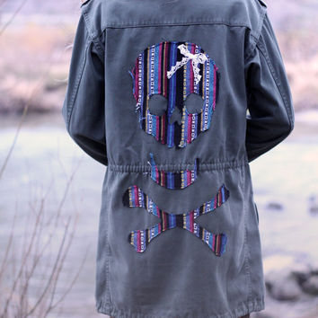 Boho military jacket customized with a skull.
